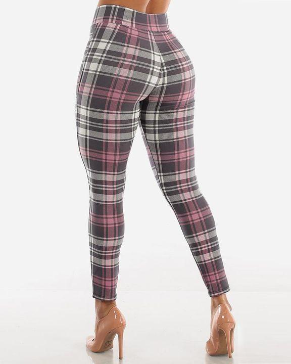 Plaid Print Wrap Waist Skinny Pants gallery 12