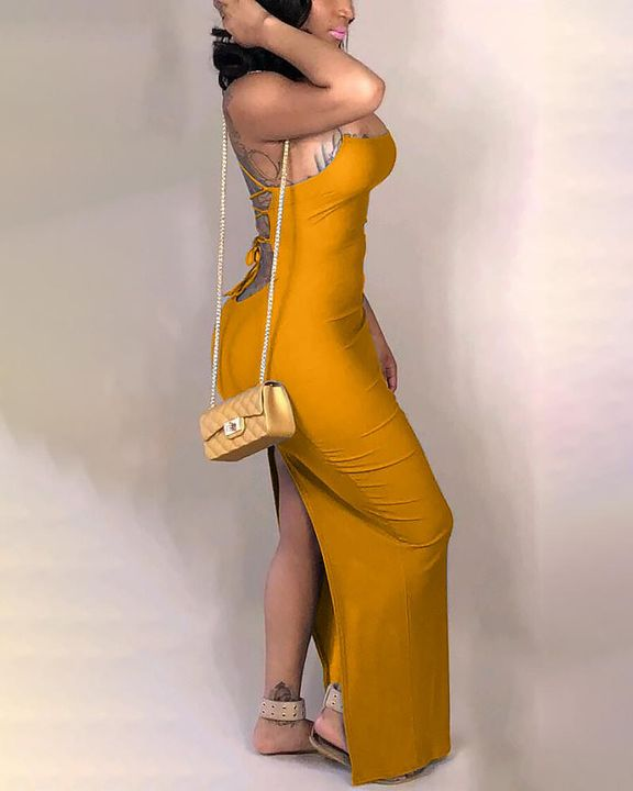 Split Thigh Criss Cross Lace Up Maxi Dress gallery 6