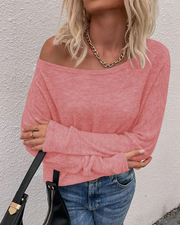 Solid Long Sleeve Boat Neck Top gallery 3