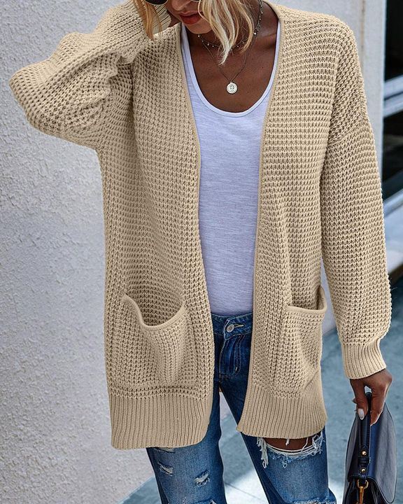 Solid Waffle Dual Pocket Front Cardigan gallery 3