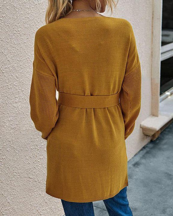 Slant Pocket Belted Decor Open Front Cardigan gallery 4