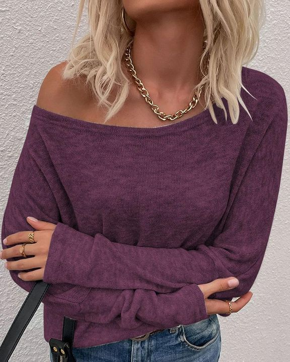 Solid Long Sleeve Boat Neck Top gallery 7