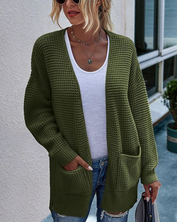 Solid Waffle Dual Pocket Front Cardigan gallery 1