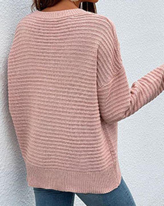Keyhole Neck Drop Bishop Sleeve Sweater gallery 10