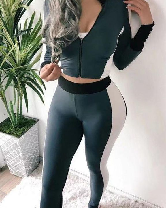 Colorblock Zip Up Jacket & Pants Set Without Camisole gallery 4