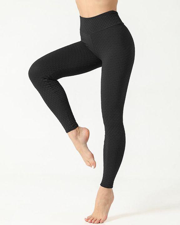 Solid Textured Scrunch Butt Absorbs Sweat Hip Lift Sports Leggings gallery 8