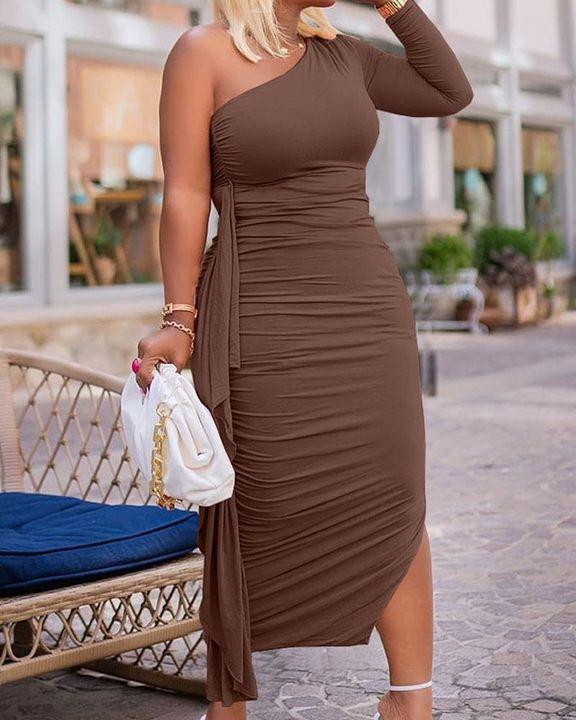 Solid Ruched Split Hem Ruffle Trim One Shoulder Maxi Dress gallery 16