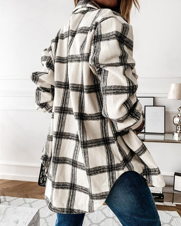 Plaid Print Patch Pocket Button Up Jacket gallery 6