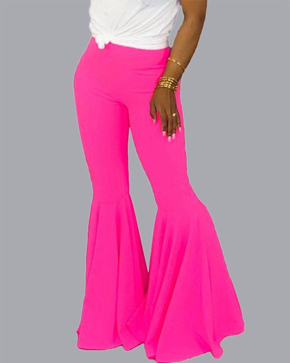 Solid Mid Waist Flare Pants gallery 5