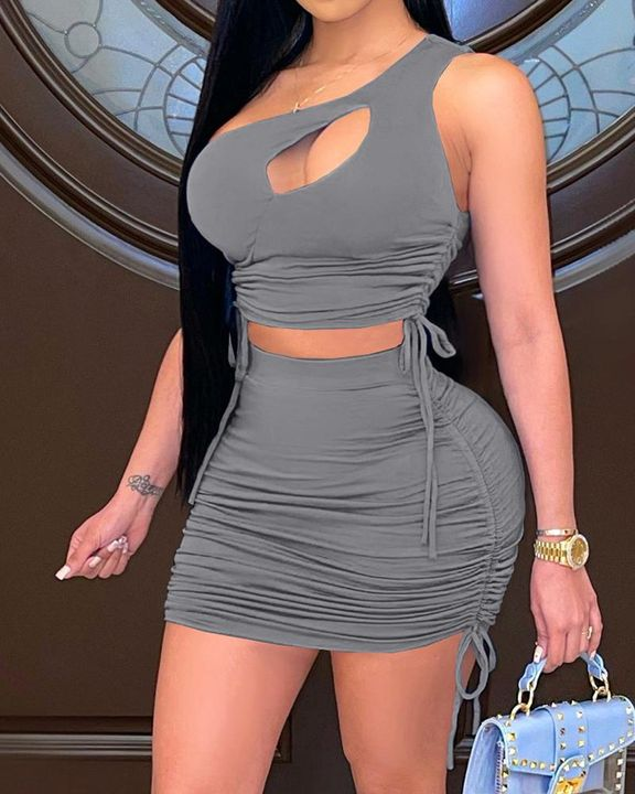 Cut Out Drawstring Side Ruched Top & Skirt Set gallery 4