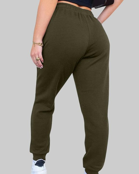 Drawstring Waist Thermal Lined High Waist Joggers gallery 9