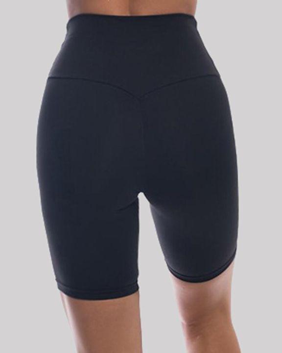 Solid High Waist Butt Lifting Sports Shorts gallery 11