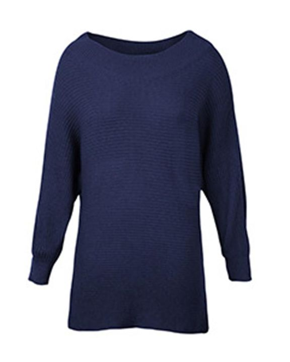 Solid Ribbed Knit Boat Neck Sweater gallery 11