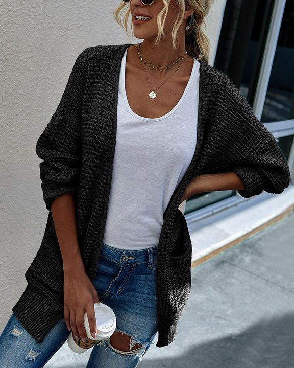Solid Waffle Dual Pocket Front Cardigan gallery 2