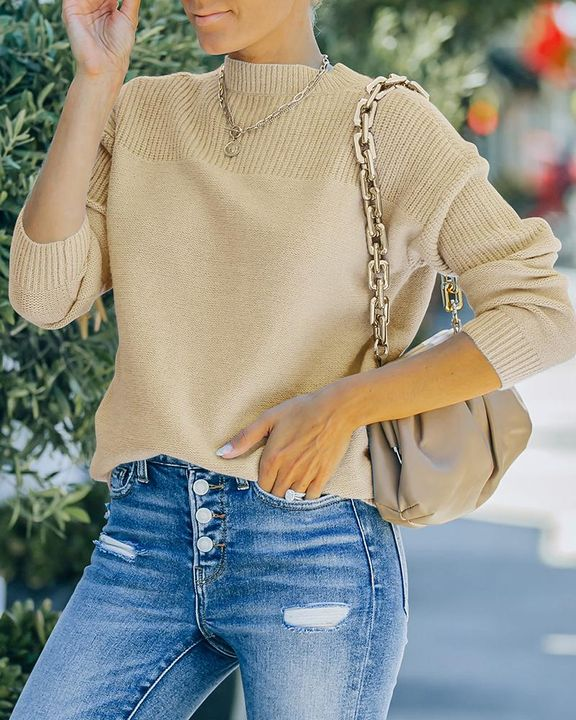 Solid Rib-Knit Round Neck Sweater gallery 3