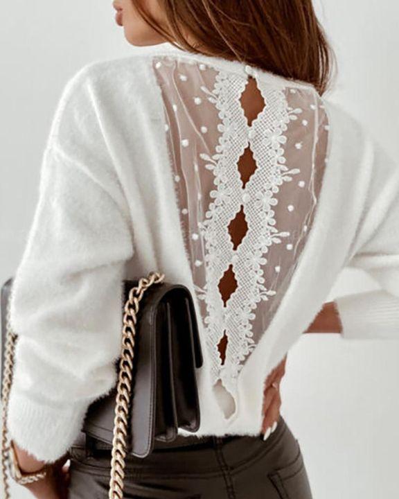 Swiss Dot Mesh Panel Beaded Trim Cutout Back Sweater gallery 1