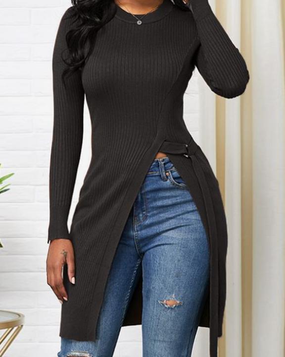 Solid Rib-Knit Tie Side Split Hem Sweater gallery 1