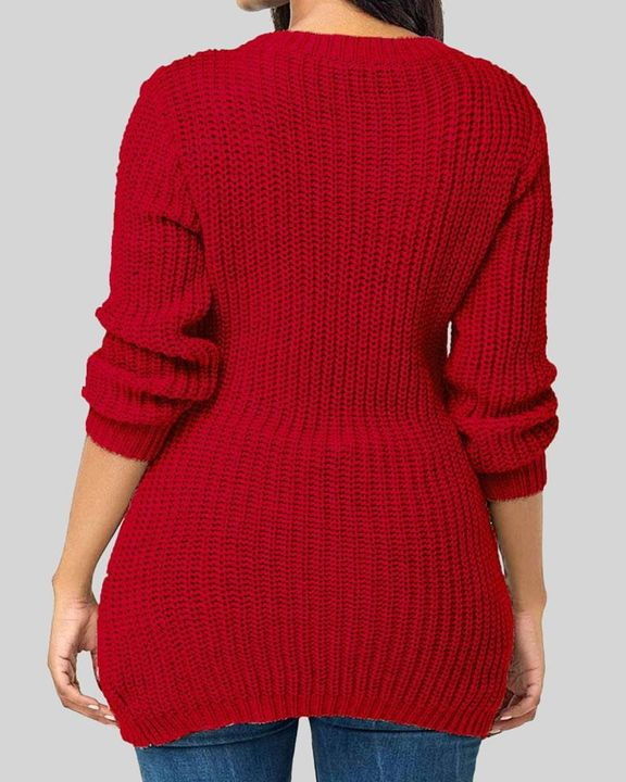 Chunky Knit Eyelet Lace Up Side Drop Shoulder Sweater gallery 2
