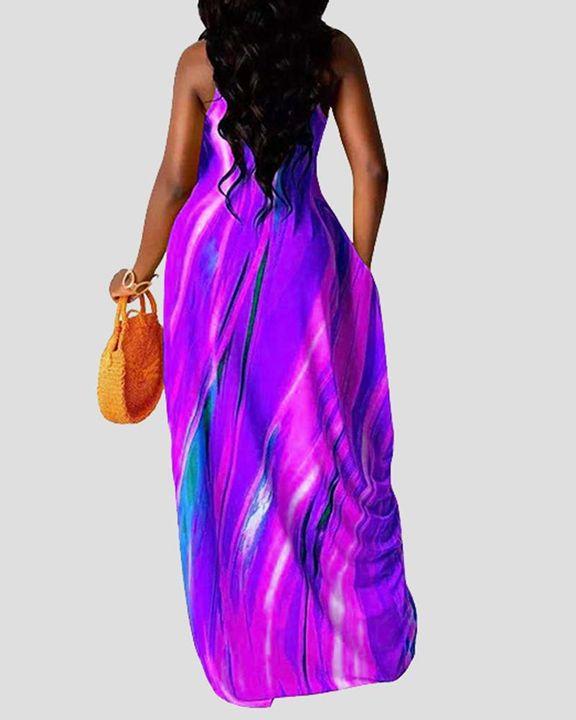 Allover Print Draped Asymmetrical Hem Cami Maxi Dress gallery 9