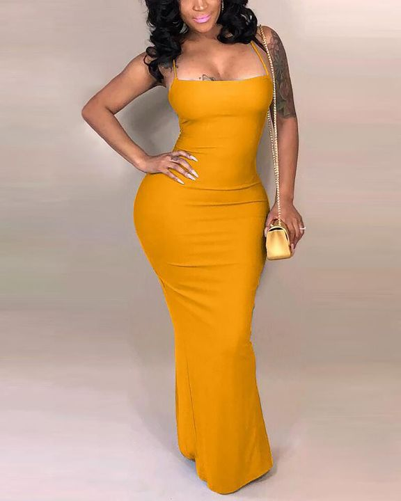 Split Thigh Criss Cross Lace Up Maxi Dress gallery 1