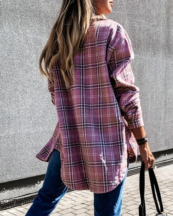 Plaid Print Patch Pocket Button Up Jacket gallery 10