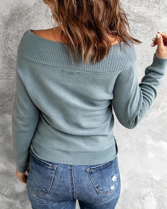 Boat Neck Ribbed Knit Sweater gallery 2