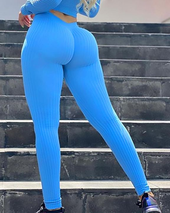 Ribbed Knit Butt Lifting High Waist Sports Leggings gallery 2