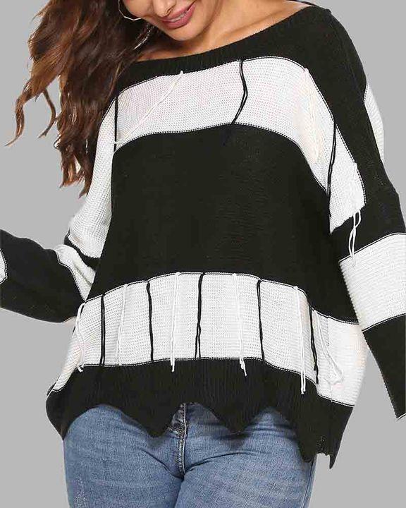 Colorblock Cutout Tie Back Fringe Trim Sweater gallery 4