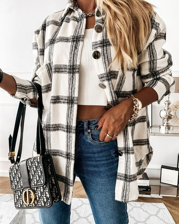 Plaid Print Patch Pocket Button Up Jacket gallery 7