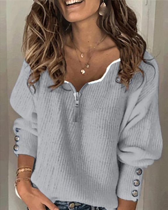 Half-Zip Ribbed Knit Button Decor Sweater  gallery 2
