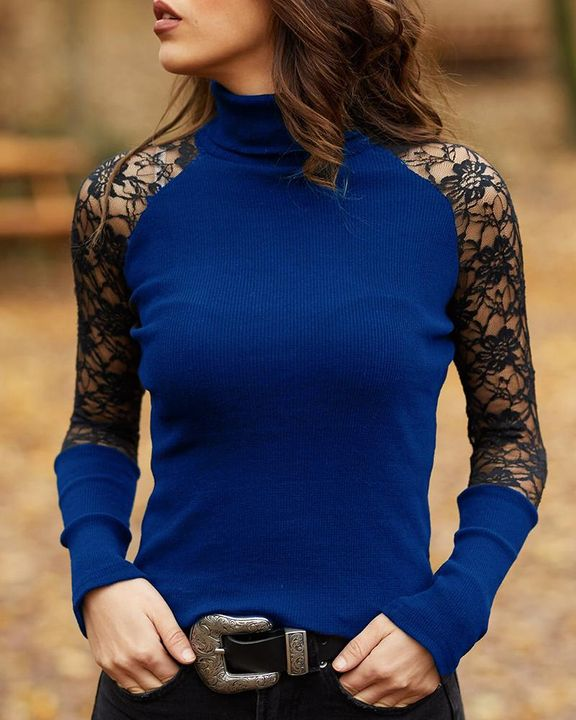 Solid Floral Lace Rib-Knit High Neck Sweater gallery 4