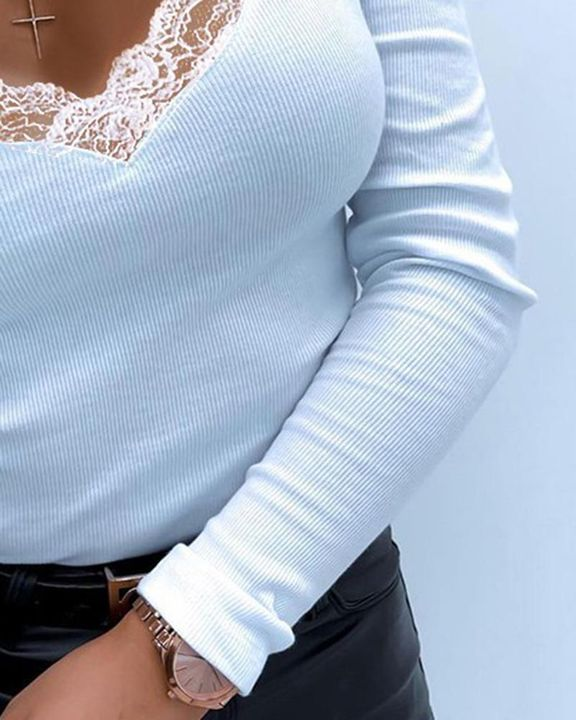 Solid Contrast Lace Cold Shoulder Long Sleeve Sweater gallery 3