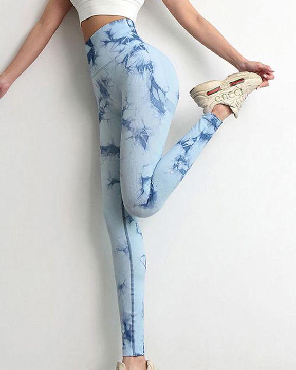 Tie Dye Scrunch Butt Hip Lifting Breathable Sports Leggings gallery 9