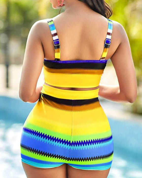 Colorful Striped Cut Out Bikini Set gallery 6