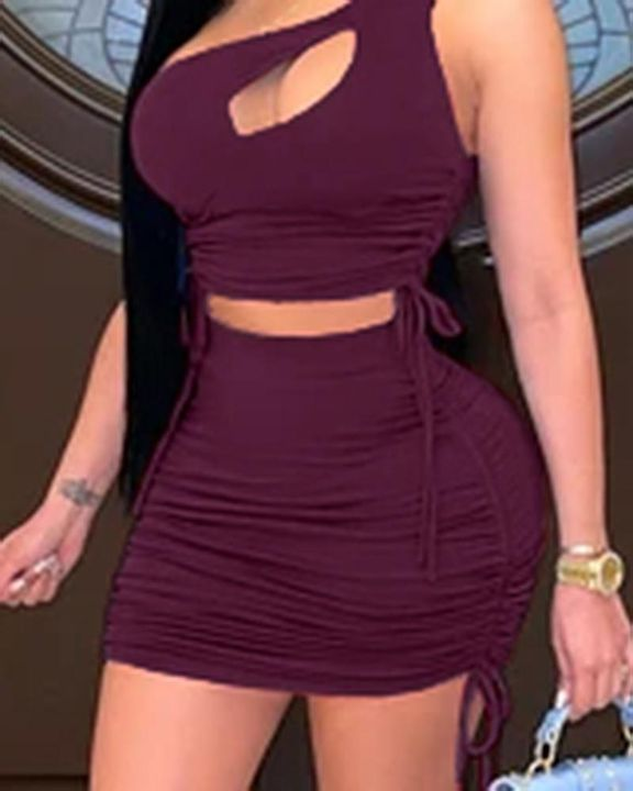 Cut Out Drawstring Side Ruched Top & Skirt Set gallery 3