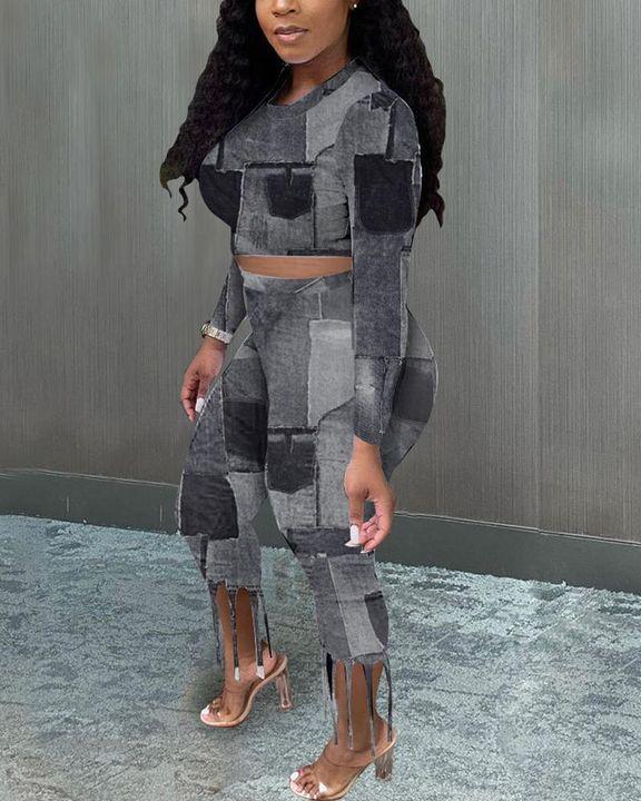 Denim Look Spliced Fringe Trim Long Sleeve Crop Top & Shorts Set gallery 3