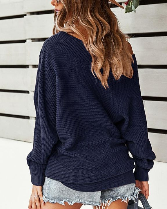 Solid Ribbed Knit Boat Neck Sweater gallery 10