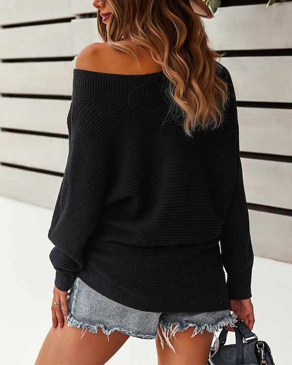 Solid Ribbed Knit Boat Neck Sweater gallery 7