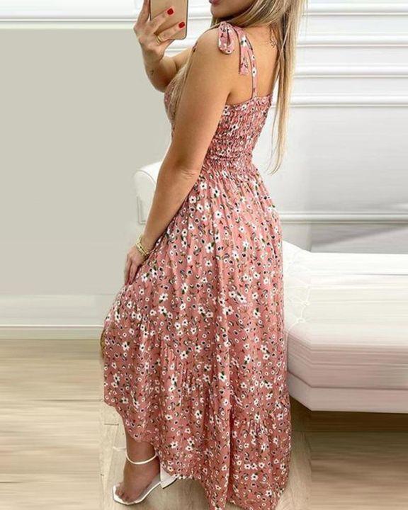 Floral Print High Low Hem Smocked Maxi Dress gallery 4
