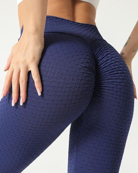 Solid Textured Scrunch Butt Absorbs Sweat Hip Lift Sports Leggings gallery 5
