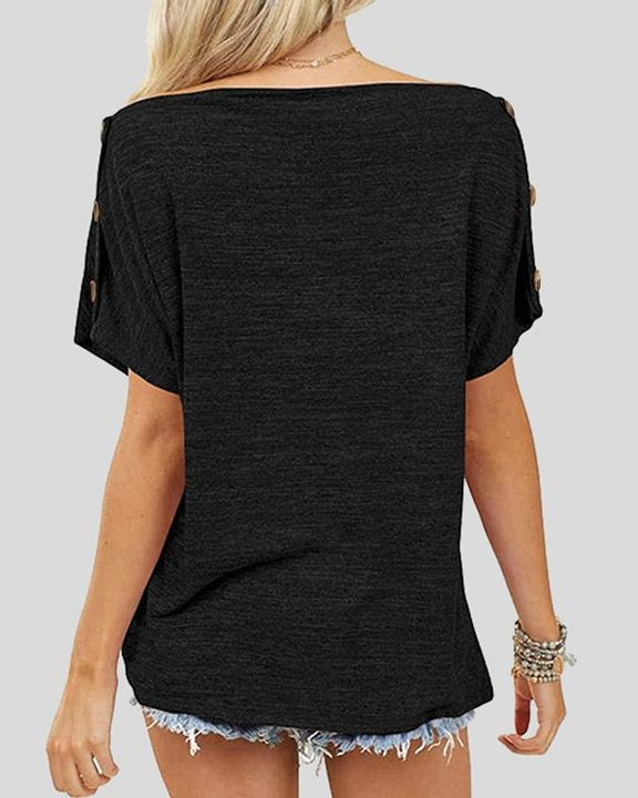 Solid Button Side Off Shoulder Top gallery 5