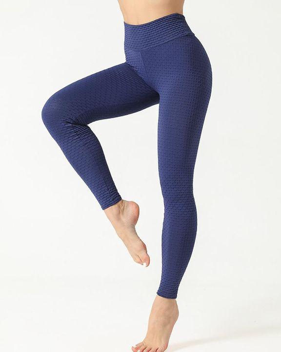 Solid Textured Scrunch Butt Absorbs Sweat Hip Lift Sports Leggings gallery 16