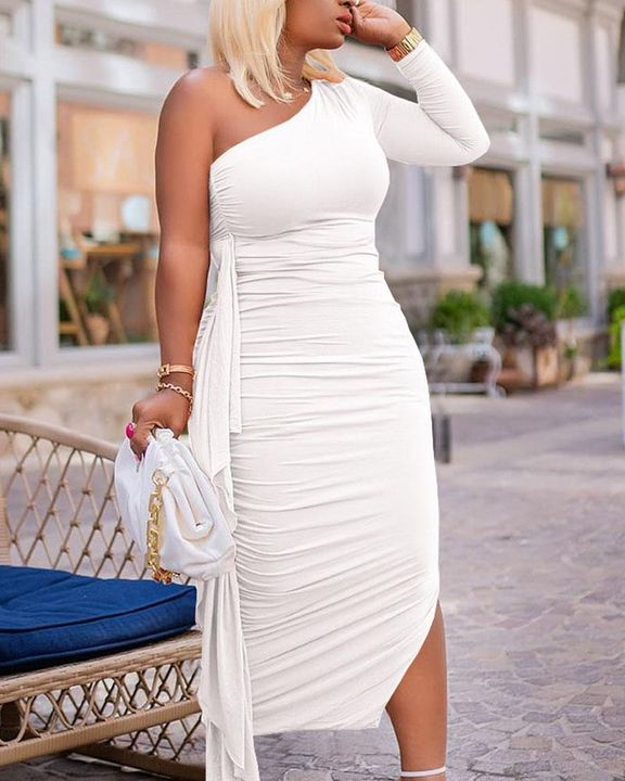 Solid Ruched Split Hem Ruffle Trim One Shoulder Maxi Dress gallery 8