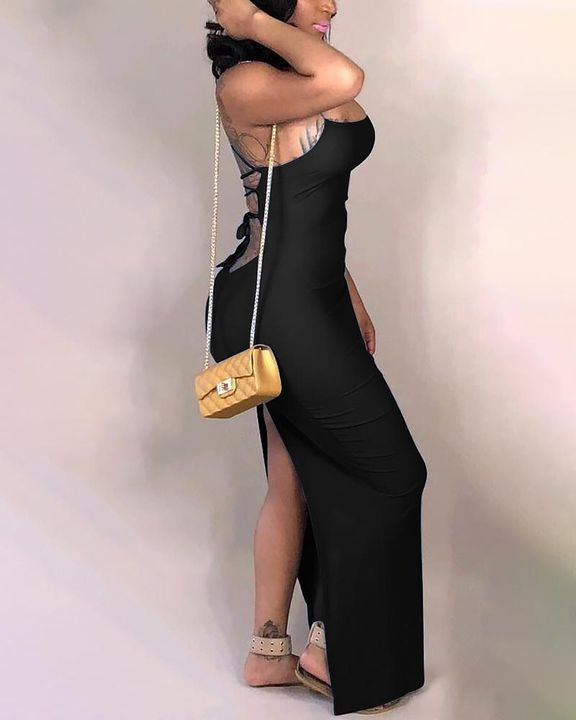 Split Thigh Criss Cross Lace Up Maxi Dress gallery 12