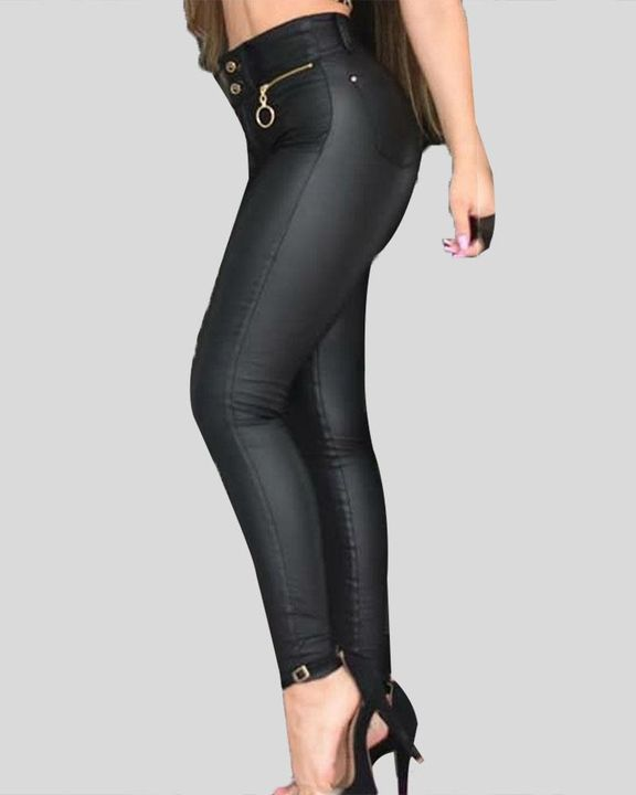 PU Zipper Detail Button Front Skinny Pants gallery 2