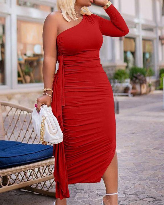 Solid Ruched Split Hem Ruffle Trim One Shoulder Maxi Dress gallery 13