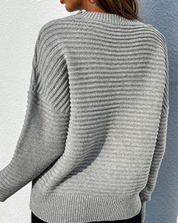 Keyhole Neck Drop Bishop Sleeve Sweater gallery 11