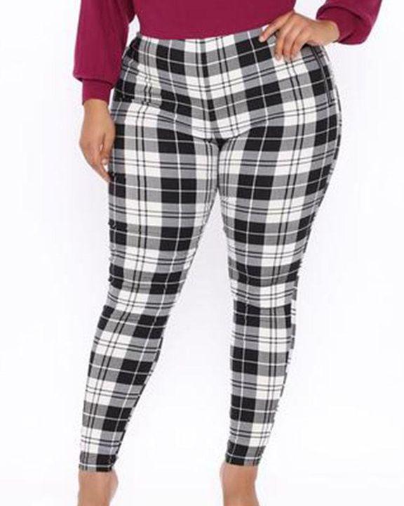 Plaid Print Zip-Pocket Side High Waist Pants gallery 2