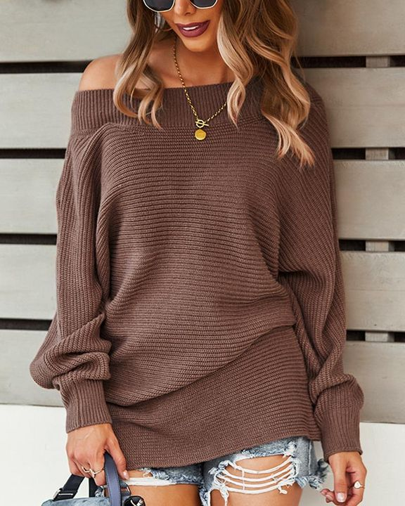 Solid Ribbed Knit Boat Neck Sweater gallery 4