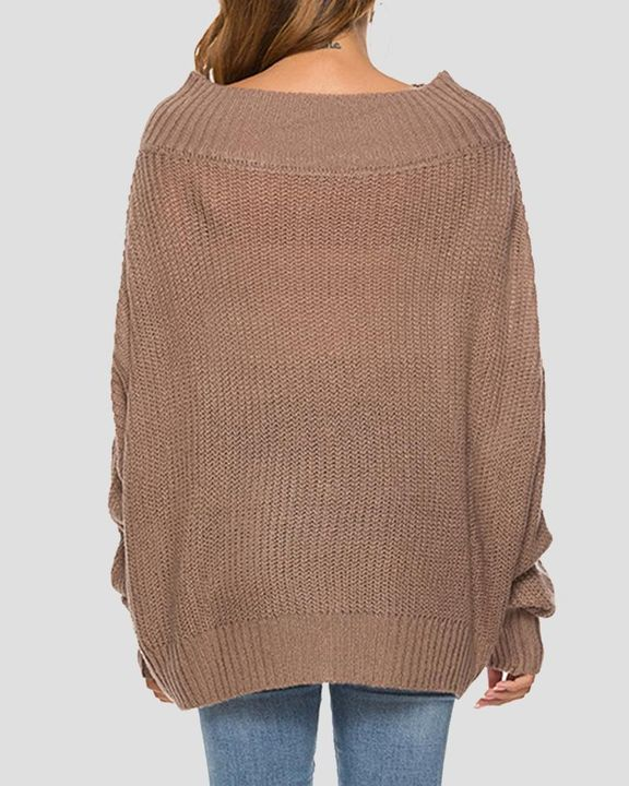 Chunky Knit Boat Neck Batwing Sleeve Sweater gallery 5